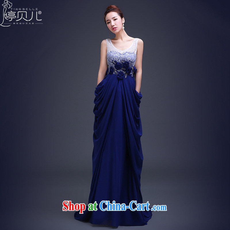 Ting Beverly dress trailing Annual Meeting 2015 new autumn and winter banquet bridesmaid dress stylish spring bridal toast serving long Lake Beauty blue XXL