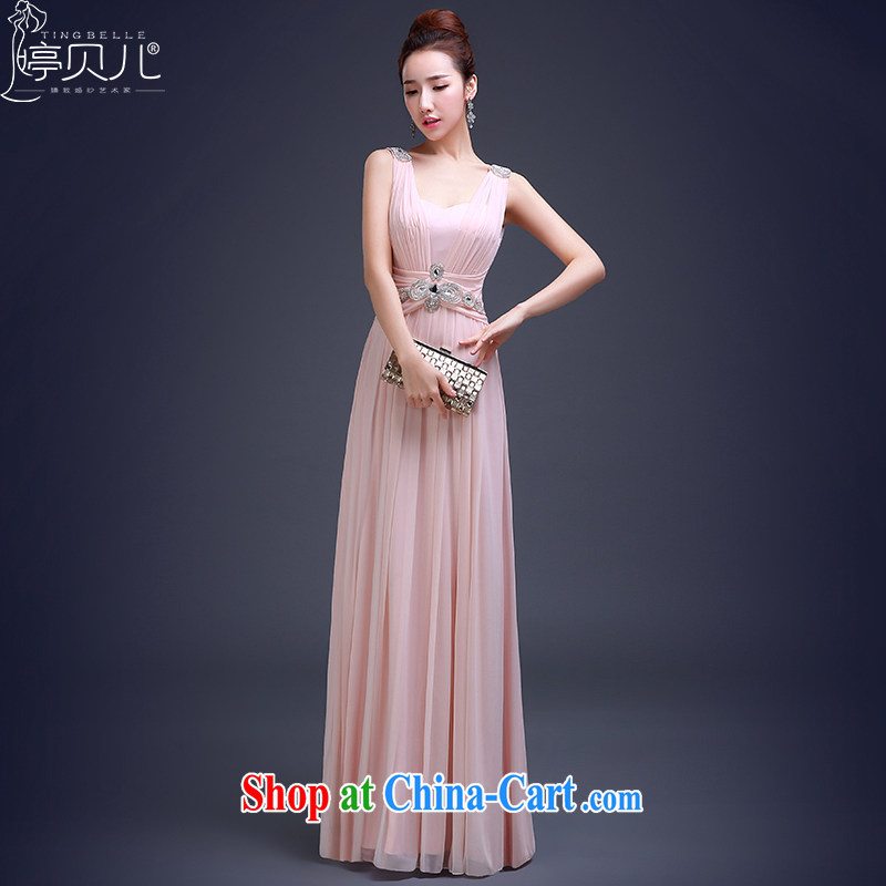 Ting Beverly dress annual bridal wedding dress long shoulders 2015 New Beauty bridesmaid service banquet toast serving spring Pink Pink XL