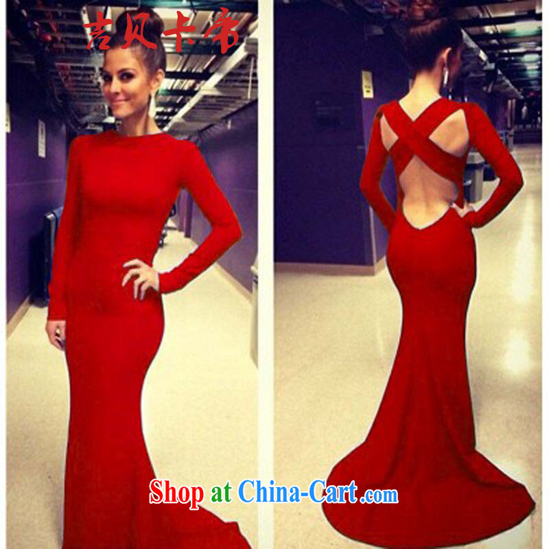The Bekaa in Dili in Europe hot sexy back exposed cross-dress dress long skirt #8065 red L