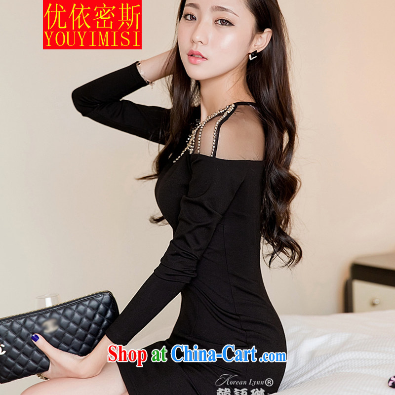 OPTIMIZED IN ACCORDANCE WITH THE 2014 my store with spring loaded new Korean female sexual feeling of Yuan nails Pearl package and long-sleeved knitted dresses dress black L