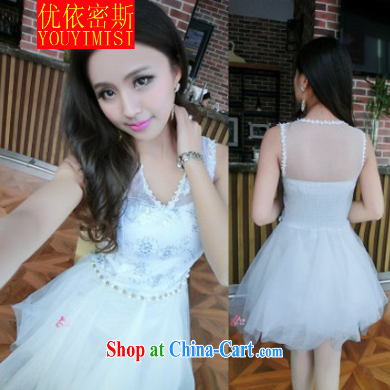 OPTIMIZED IN ACCORDANCE WITH THE 2014 New Name-yuan, and fluoroscopy Web yarn lace stitching irregular beauty dress dress dress white S
