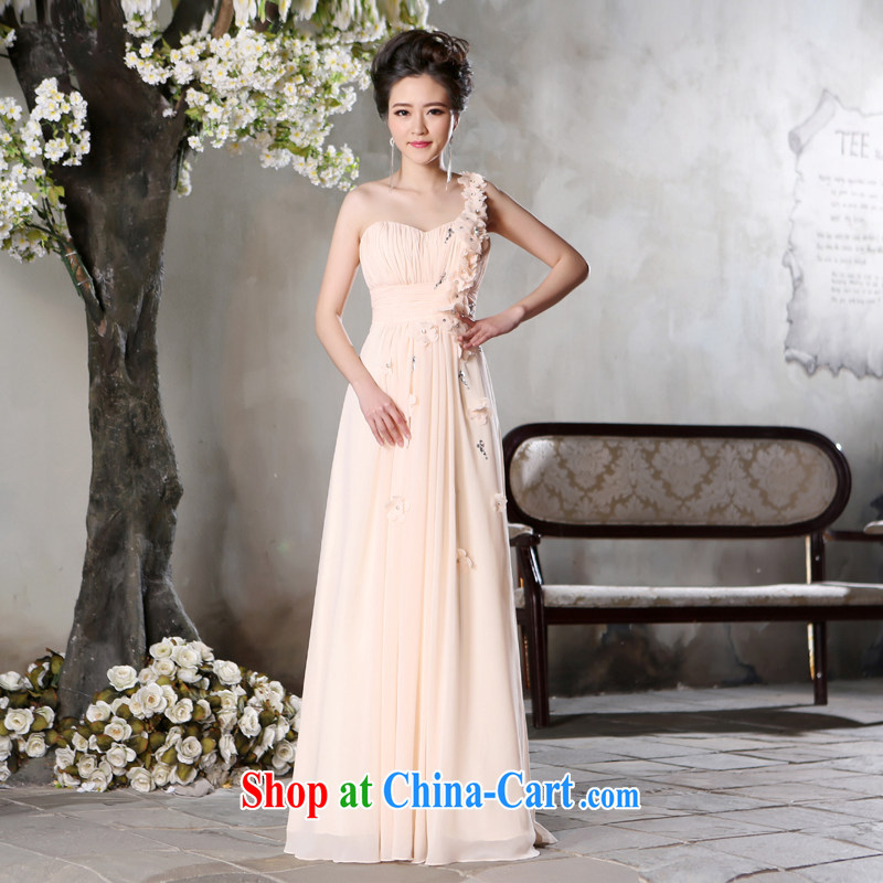 Jie MIA 2015 new autumn the shoulder long dress hostess banquet bridesmaid dress evening dress light pink XXL