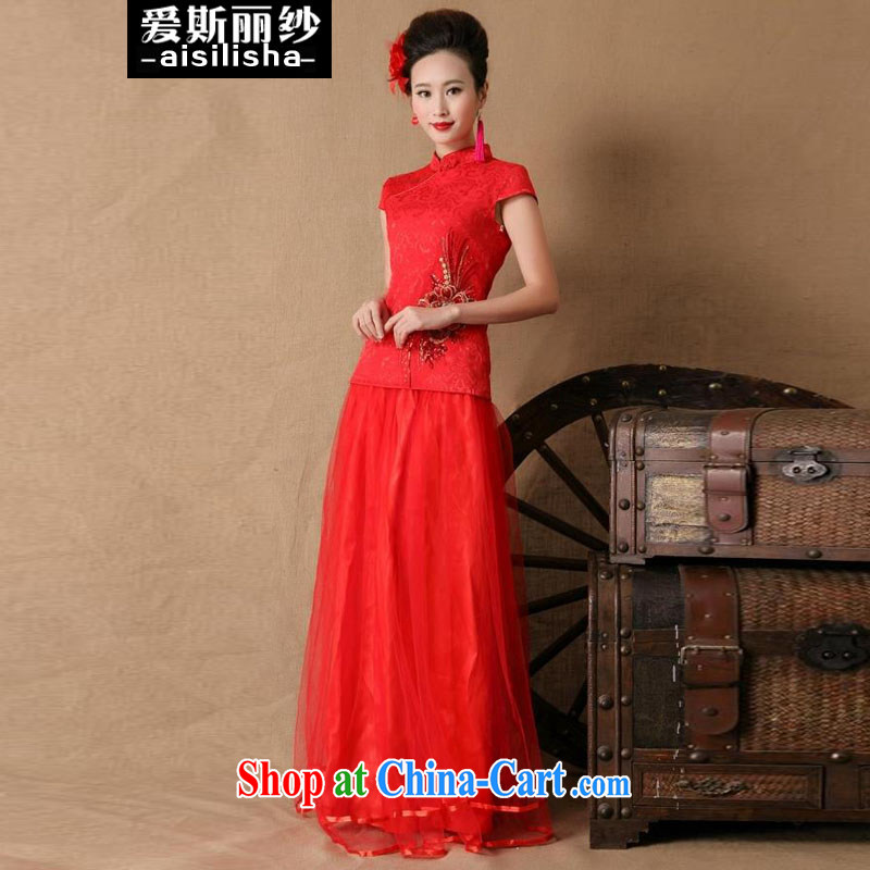 Love, Mrs Carrie Yau, yarn delivery dress 2015 new bridal wedding dresses dress red evening dress Evening Dress long retro toast serving evening dress red XL