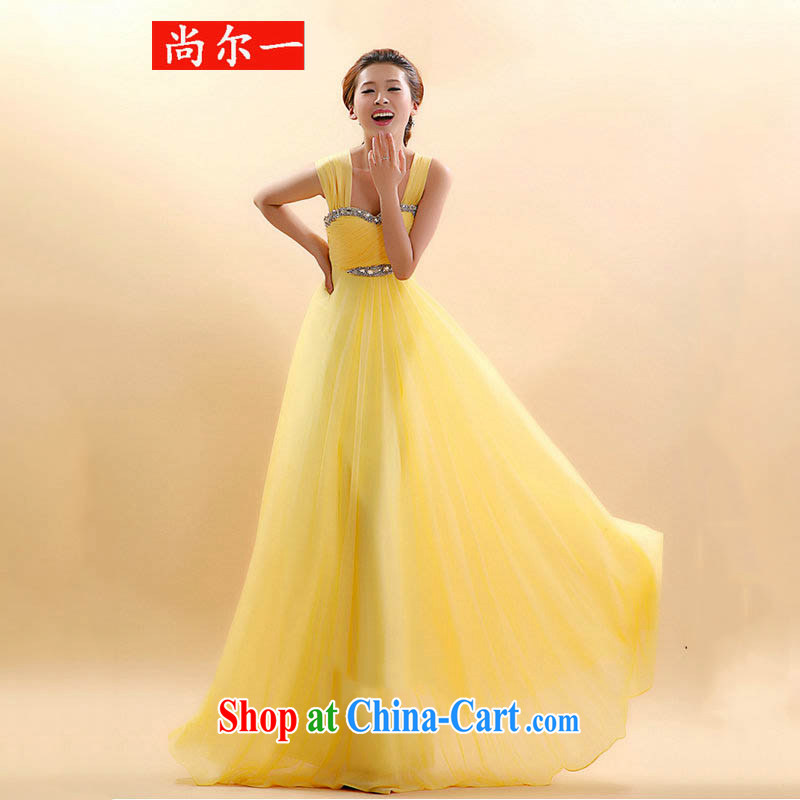 Still, 12,015 new marriages toast serving double-shoulder dresses beauty sponsored performances dress YS 6410 yellow M