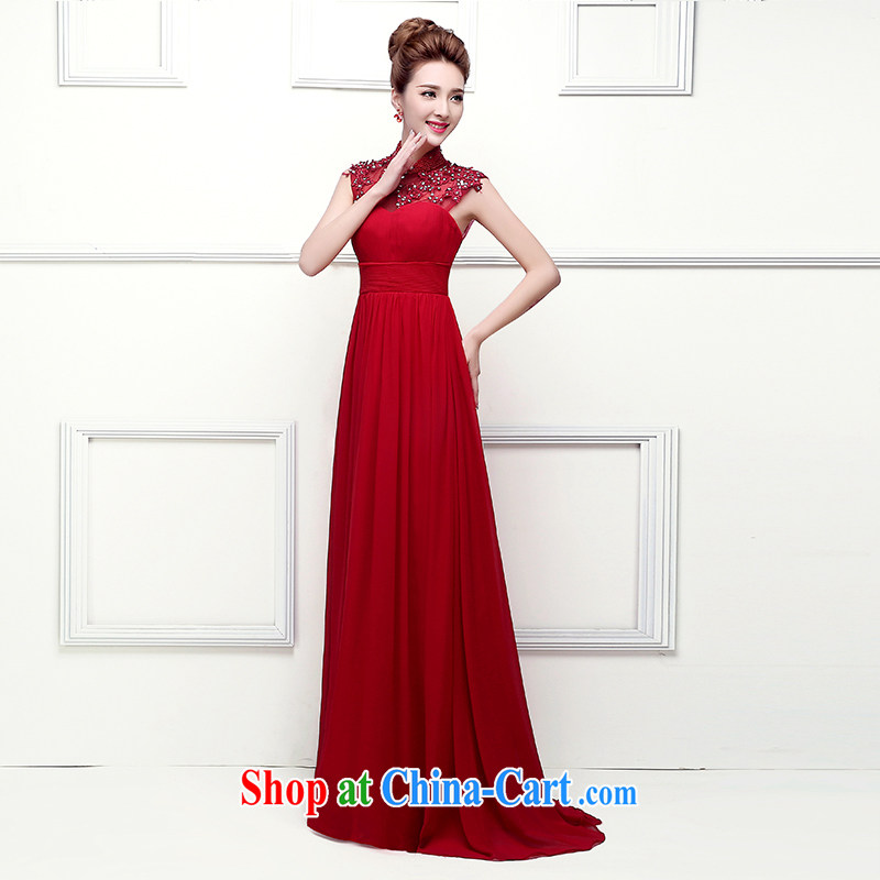 Sophie HIV than new Korean stylish and elegant, dress for the field shoulder Red Beauty, Video thin dress bridal toast annual service dress red XXL