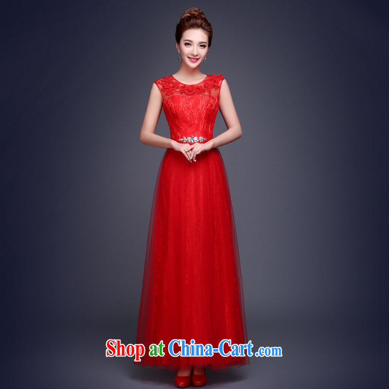 The Vanessa summer 2015 toast bride dress wedding wedding dress red long dual-shoulder lace zip code the beauty graphics thin flowers beaded dress female Red XL (is the necklace earrings)