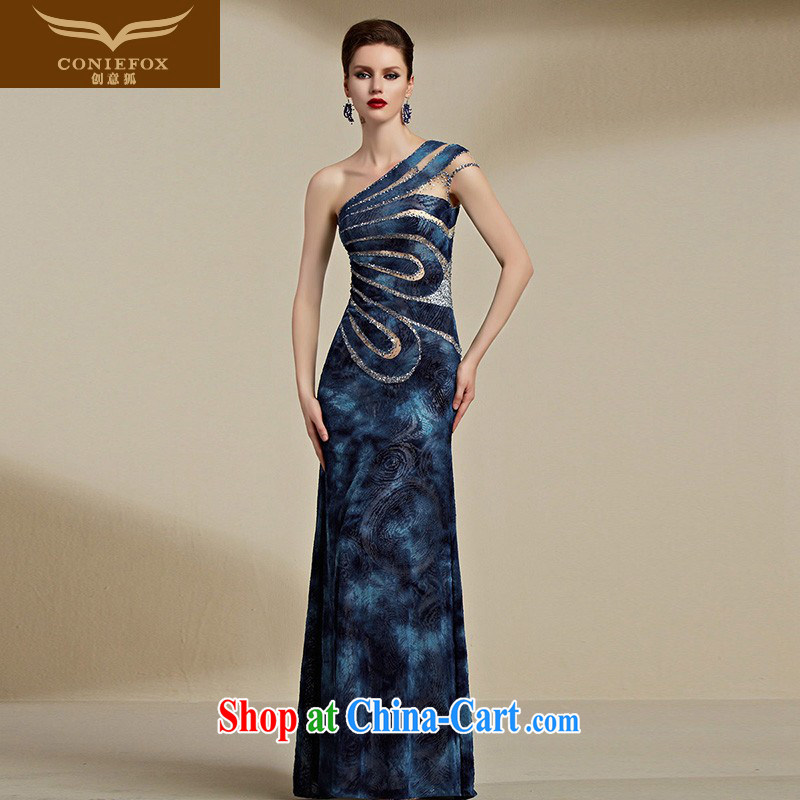Creative Fox Evening Dress 2015 new dress banquet long beauty evening dress sexy single shoulder bridesmaid dress uniform toast hostess dress 82,086 blue XXL