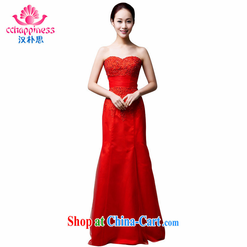 Han Park (cchappiness) 2015 new sexy bare chest toast clothing lace bridesmaid dress banquet Annual Meeting dress red XXL