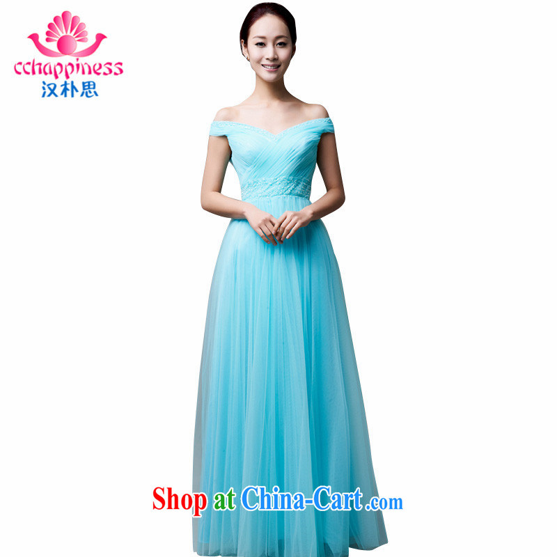 Han Park (cchappiness) 2015 new stylish card shoulder bows uniforms sexy bridesmaid dress companies annual meeting banquet dress green XXL