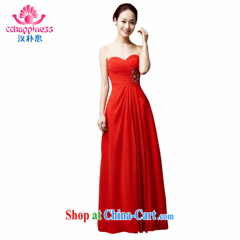 Han Park (cchappiness) 2015 new stylish bows. long skirt wiped his chest bridesmaid dress Companies Meet annual dress red XXL lightning shipping