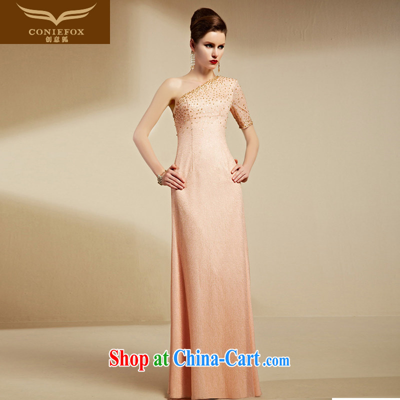 Creative Fox Evening Dress 2015 new single shoulder bridesmaid dress women evening dress long dress pink wedding dress welcome dress long skirt 30,696 red XXL
