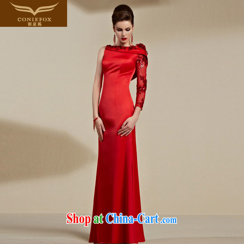Creative Fox Evening Dress 2015 New Red bridal wedding dress banquet evening dress female long serving toast hosted annual dress long skirt 30,693 red XXL