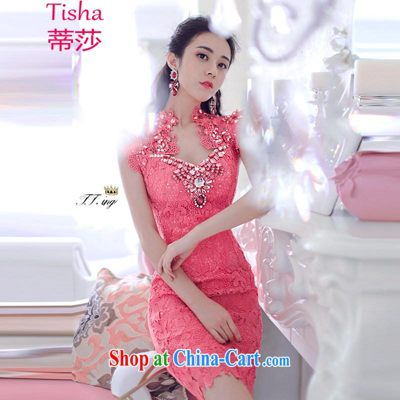 Tisha 2015 bridal Evening Dress bridesmaid dress luxurious parquet drill nails Pearl lace dresses evening dress 8080 luxury pink L