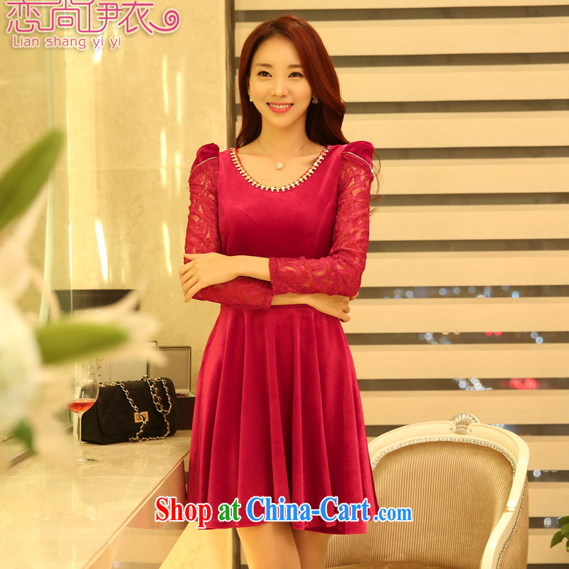 Land is still the Yi 2015 spring loaded girls video gaunt the female Korean beauty charm gold velour lace-long-sleeved dresses thick MM larger dress skirt 9822 red XXXL