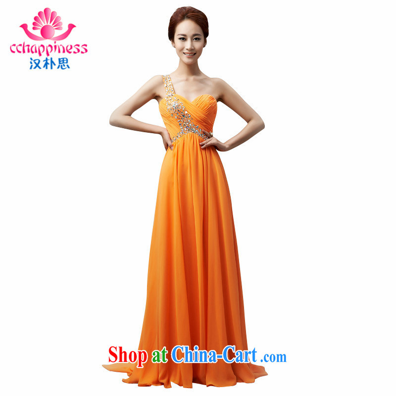 Han Park (cchappiness) 2015 new stylish wiped his chest long serving toast bridesmaid service banquet Annual Gala Evening Dress orange custom
