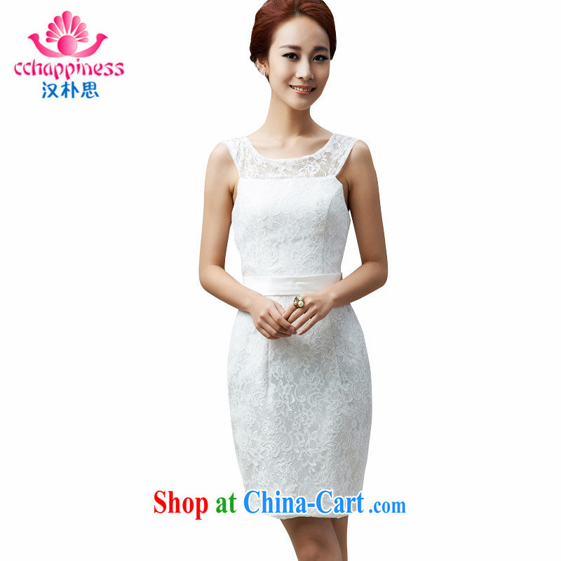 Han Park _cchappiness_ 2015 new lace beauty short bows service bridesmaid service banquet party Evening Dress white customization