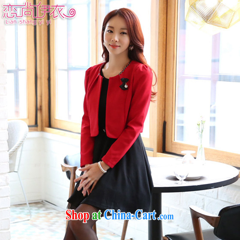 Land is the Yi 2015 spring female Korean festive small incense, two-piece vest skirt 100 on board the code thick MM dress skirt two piece set with 91,920 red T-shirt Kit XXXL