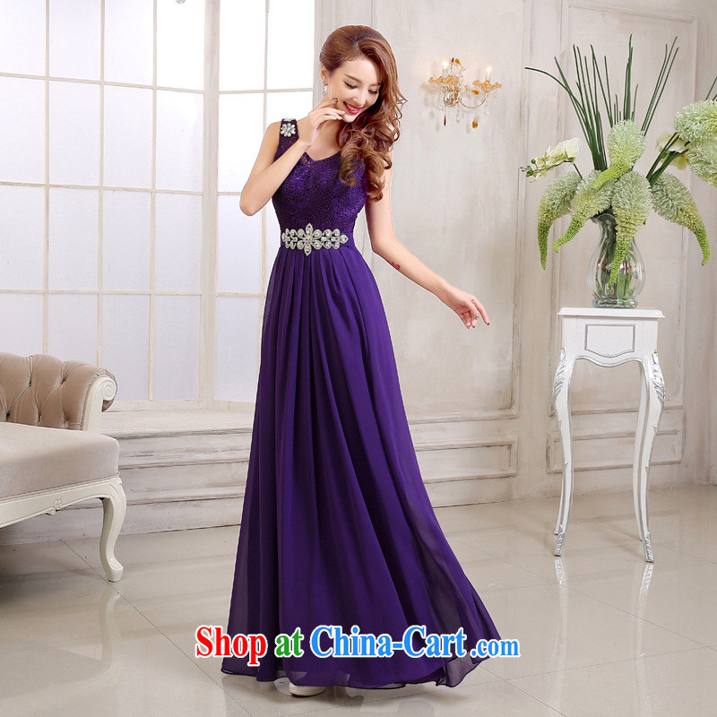 2015 new dress uniform toasting bride marriage red high quality Evening Dress long wedding bridesmaid clothing girls purple L