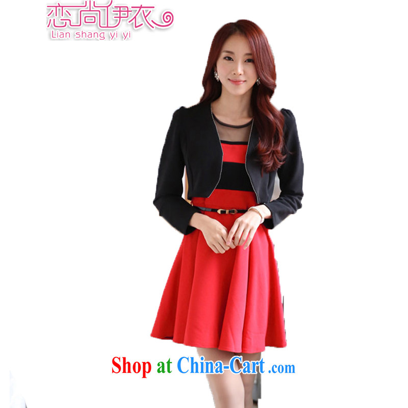 Land is the Yi 2015 spring female Korean long-sleeved video thin dresses larger thick MM evening dress skirt + shawls two piece set with the diamond jewelry black T-shirt + red skirt XXXL