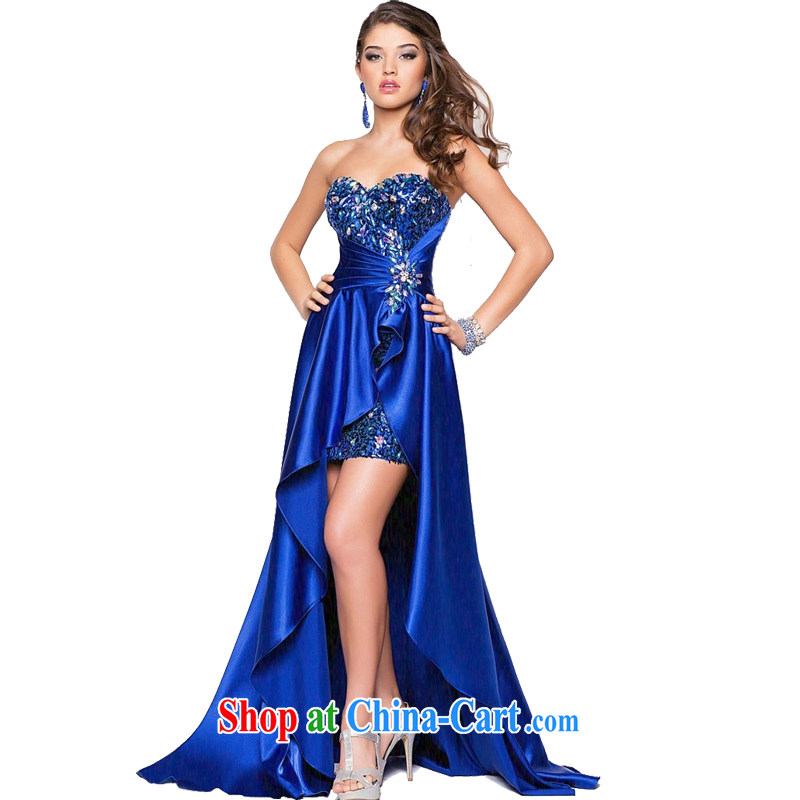 2015 European and American style in a new, bridal wedding dress short before long, chest bare bows clothing dress banquet costumes royal blue XXL