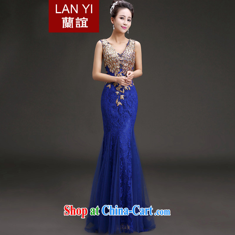 Blue Quaker marriages bows dress Korean crowsfoot graphics thin shoulders dress V for the Annual Dinner Show dress blue dress with L code waist 2.1 feet