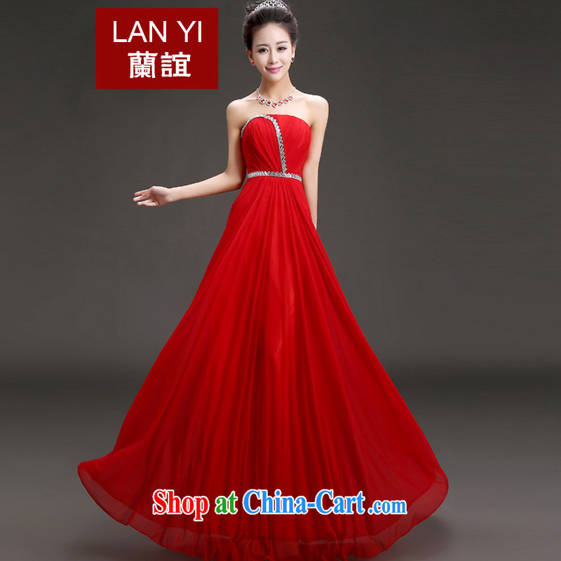 (Quakers) estimated 2015 bride's toast serving Korean version graphics thin smears chest dress show banquet hosted annual meeting evening dress Red. Contact Customer Service will supplement to fee