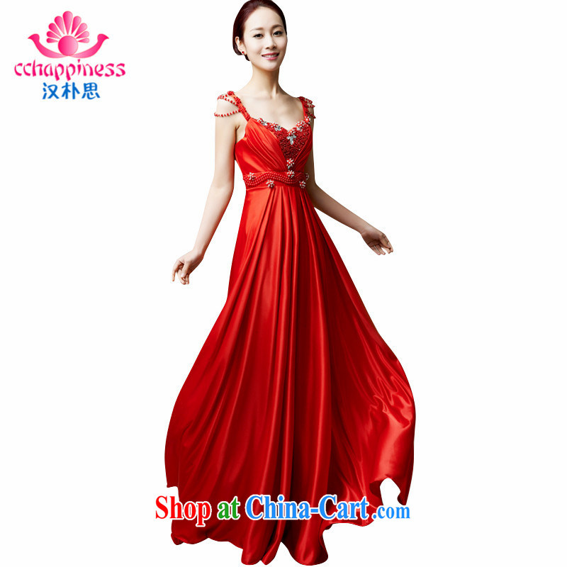 Han Park (cchappiness) 2015 new sexy water-beads straps bridal toast. bridesmaid dresses annual banquet dress red XXL lightning shipping