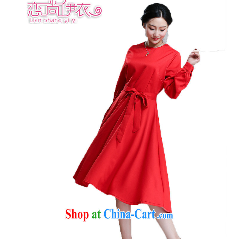 Land is the Yi 2015 Summer in Europe and America, new long-sleeved style graphics thin beauty large, long, Shaggy red dress dress bridal back door skirts dresses festive red XL