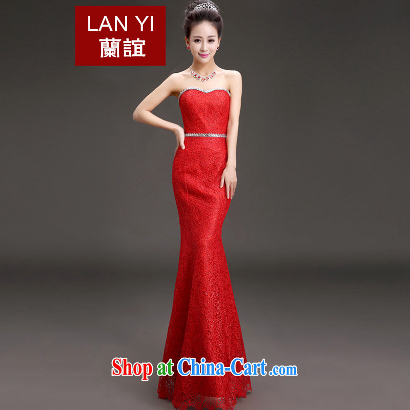 _Quakers_ estimated 2015 new spring wipe chest bridal toast dress stylish beauty graphics thin marriage long bridal toast dress the banquet show service red XL code waist 2.2 feet