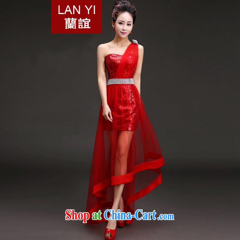 _Quakers_ estimated 2015 new spring and summer evening dress Korean single shoulder graphics thin front short long bridal wedding dress toast stage hosted banquet service red M code waist 2 feet