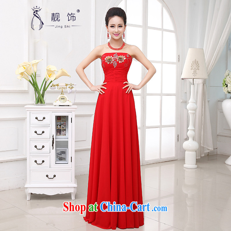 Beautiful ornaments dress 2015 new marriage toast serving Korean long red erase chest bridal dresses red long dress XL