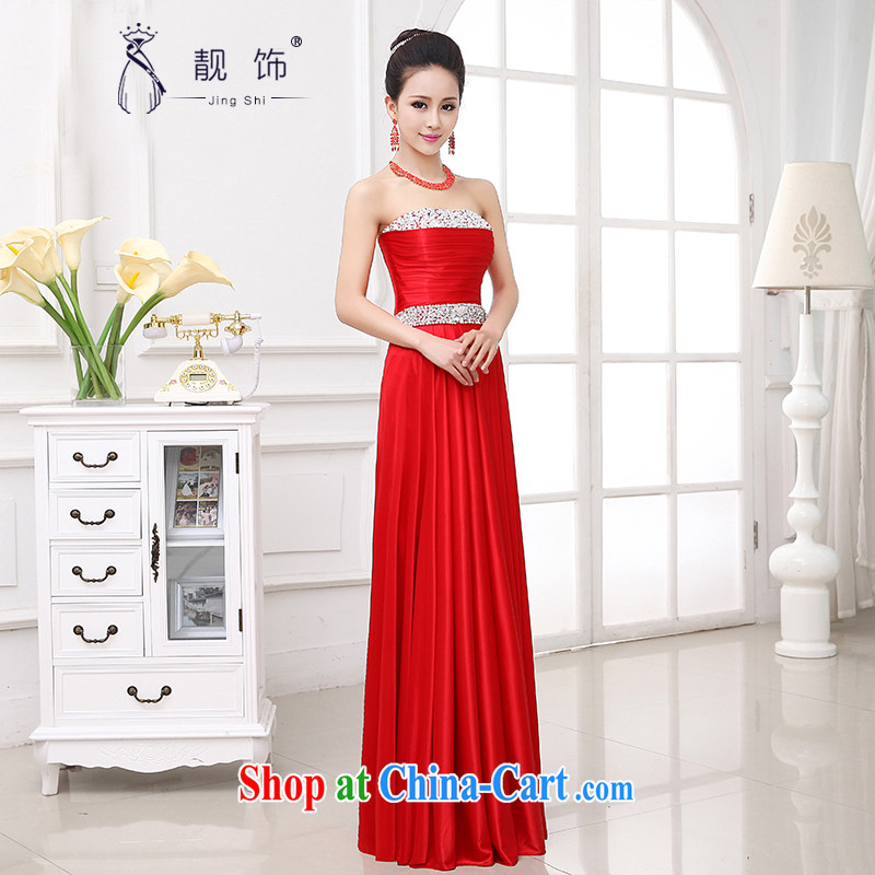 Beautiful ornaments dress 2015 new wedding wedding bridal wedding toast service stylish erase chest diamond jewelry Evening Dress red long dress XXL