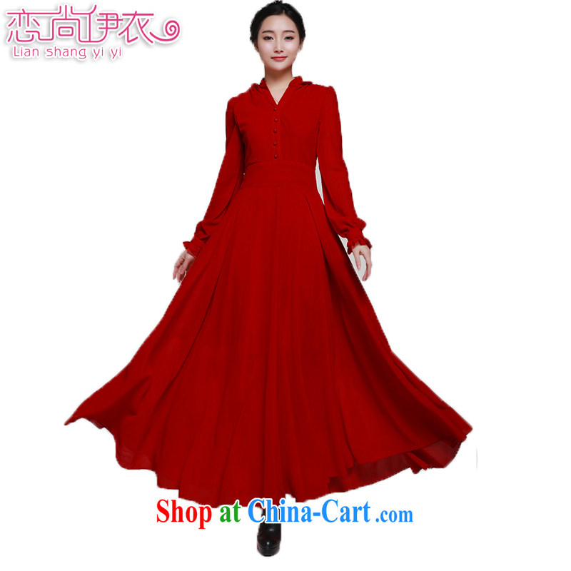 Land is the Yi 2015 spring female Korean version of the new retro College lady long skirt classic stylish festive red bridal back-door dress long-sleeved dresses 9883 wine red XL