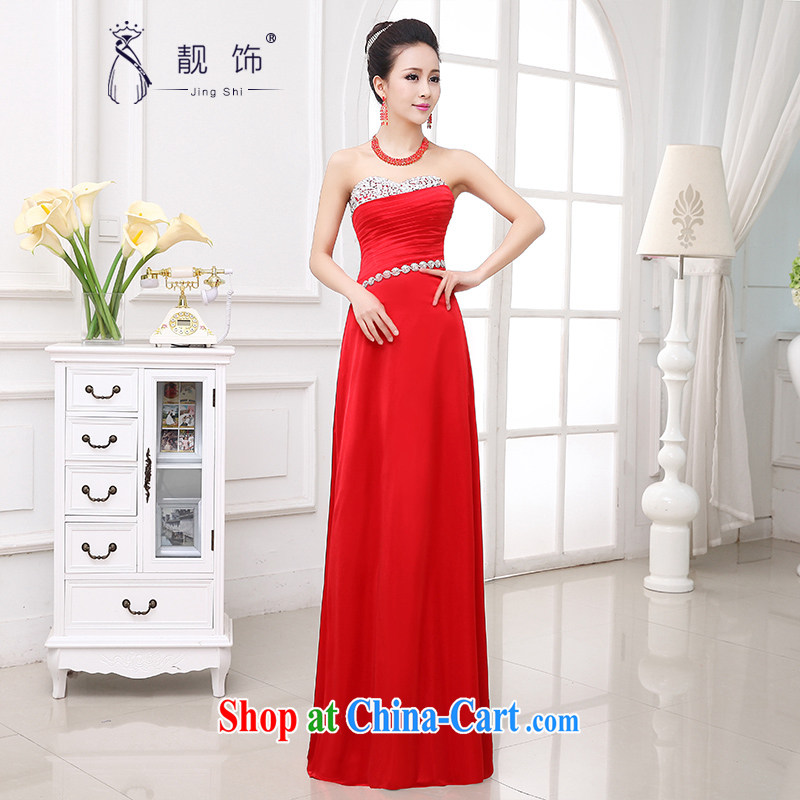 Beautiful ornaments dress 2015 New Long fall wedding toast serving sweet Mary Magdalene chest diamond jewelry bridal dresses girls red long dress XXL
