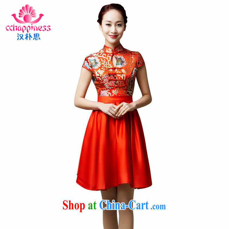 Han Park (cchappiness) 2015 new stylish improved retro dresses marriages, short bows dress red XXXL (chest 96 waist 80 and 99)