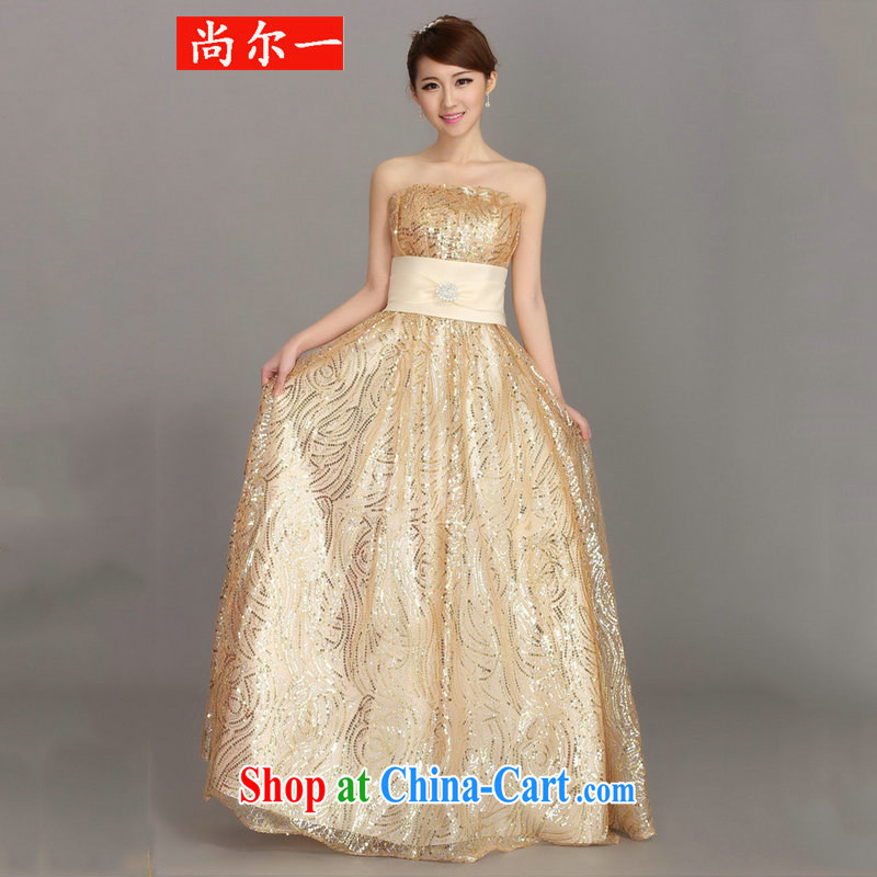 There's a dress wedding toast Service Bridal Evening Dress winter clothing fashion dresses long bridesmaid dress female DH 3413 champagne color L, still, a, and, shopping on the Internet