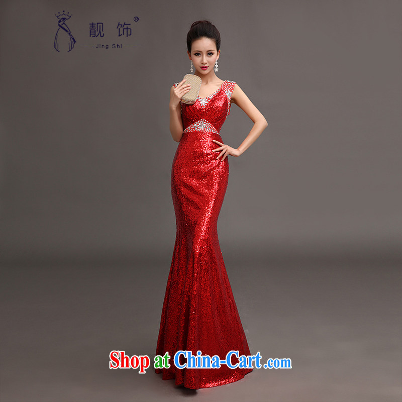 Beautiful ornaments dress 2015 new, luxurious, elegant and sexy shoulders at Merlion dress moderator performance service red XL