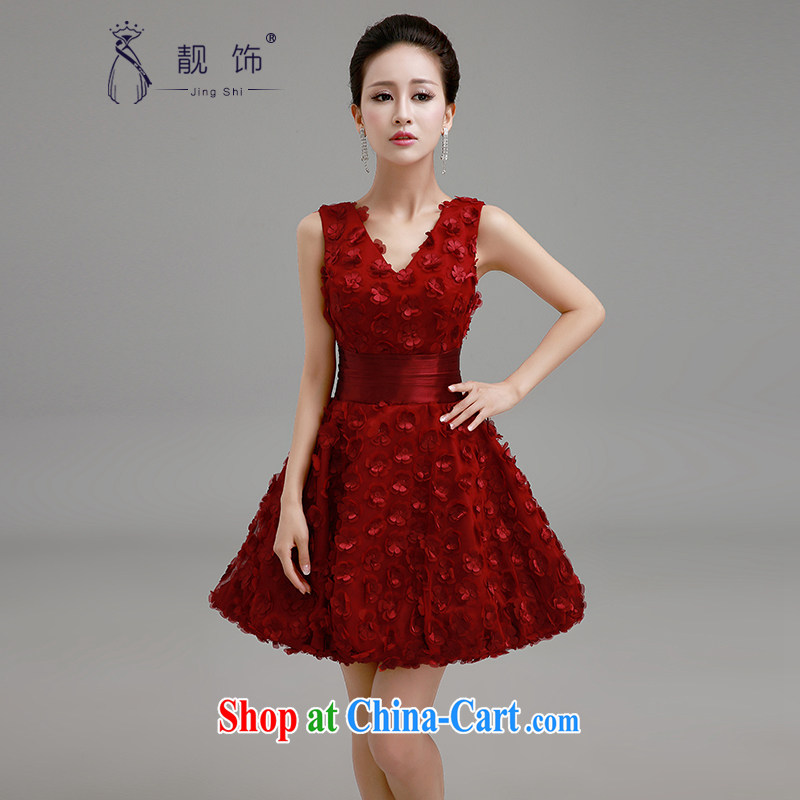 Beautiful ornaments 2015 new wedding dresses wedding red shaggy dress stylish bridesmaid serving the wedding dress bridal toast serving red XL