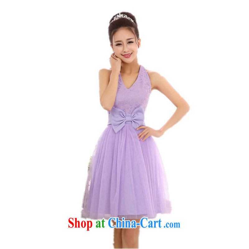 Package-goods with the payment of aristocratic ladies shoulders small dress Web yarn shaggy dress wedding dress bridesmaid sister's dress code and annual dress straps purple skirt all code