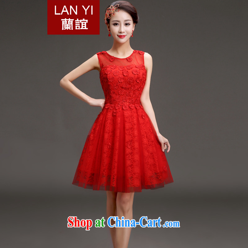(Quakers) estimated 2015 new bridal dresses Korean word small shoulder dress bridesmaid show banquet dress short skirt red XL code waist 2.2 feet