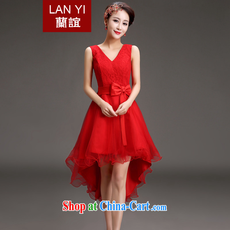 Estimated 2015 Quaker bride toast small dress Korean Spring Banquet show double-shoulder dress Red Front short long dress skirt red S code waist 1.9 feet