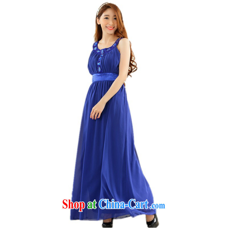The package mail XL lady high long dresses hot drill vest dress snow woven graphics thin conservative dress skirt annual bridesmaid sister blue 3 XL approximately 165 - 185 jack