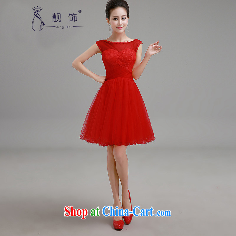 Beautiful ornaments 2015 new short red dress bridal toast Service Advanced lace straps bridesmaid serving short skirts short red small dress XXL