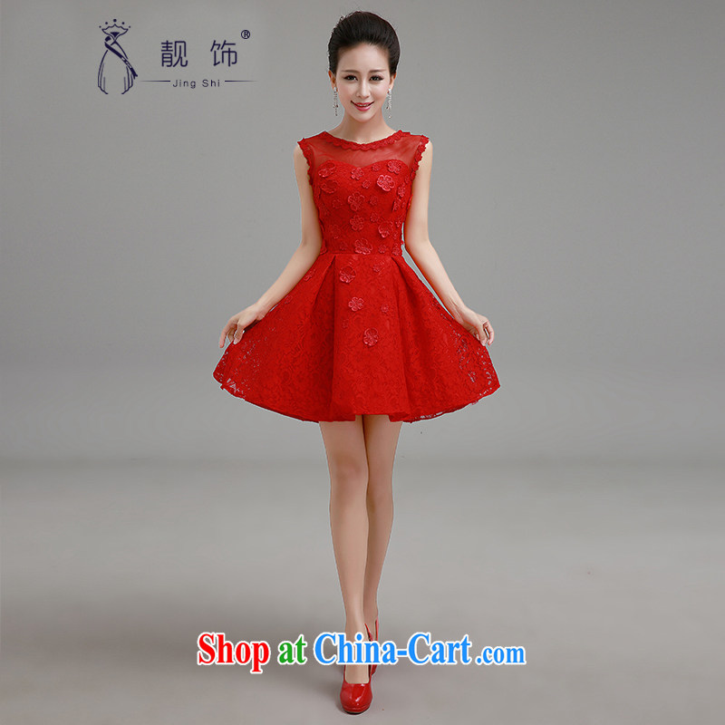 Beautiful ornaments 2015 New Field shoulder short little red dress bridal toast clothing lace short skirt bridesmaid clothing red XXL