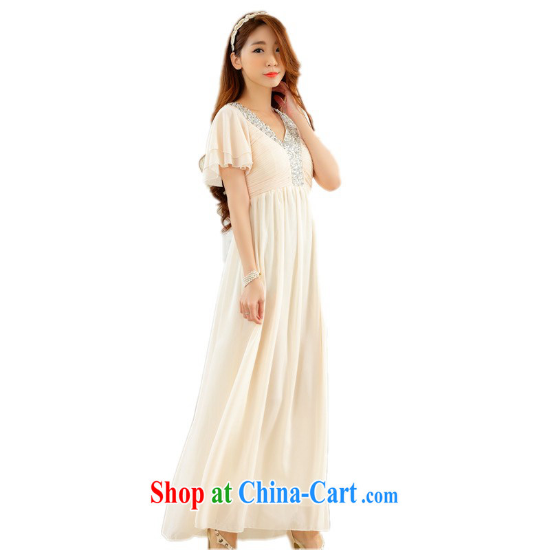 The package mail XL snow woven long dresses, diamond nails V Pearl collar flouncing cuff lady conservative small dresses the annual table champagne color 3 XL approximately 165 - 185 jack