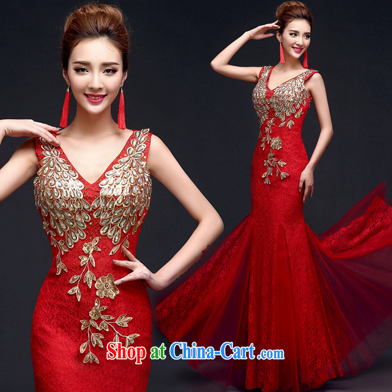 A good service is 2015 New Red brides with wedding dress toast clothing Evening Dress evening dress long skirts at Merlion red 2 XL