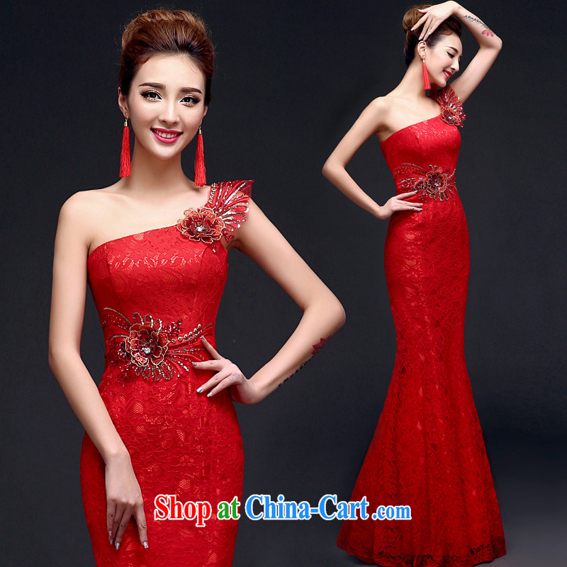 A good service is 2015 New Red bridal wedding dress long, with evening dress evening dress uniform toast at Merlion red L