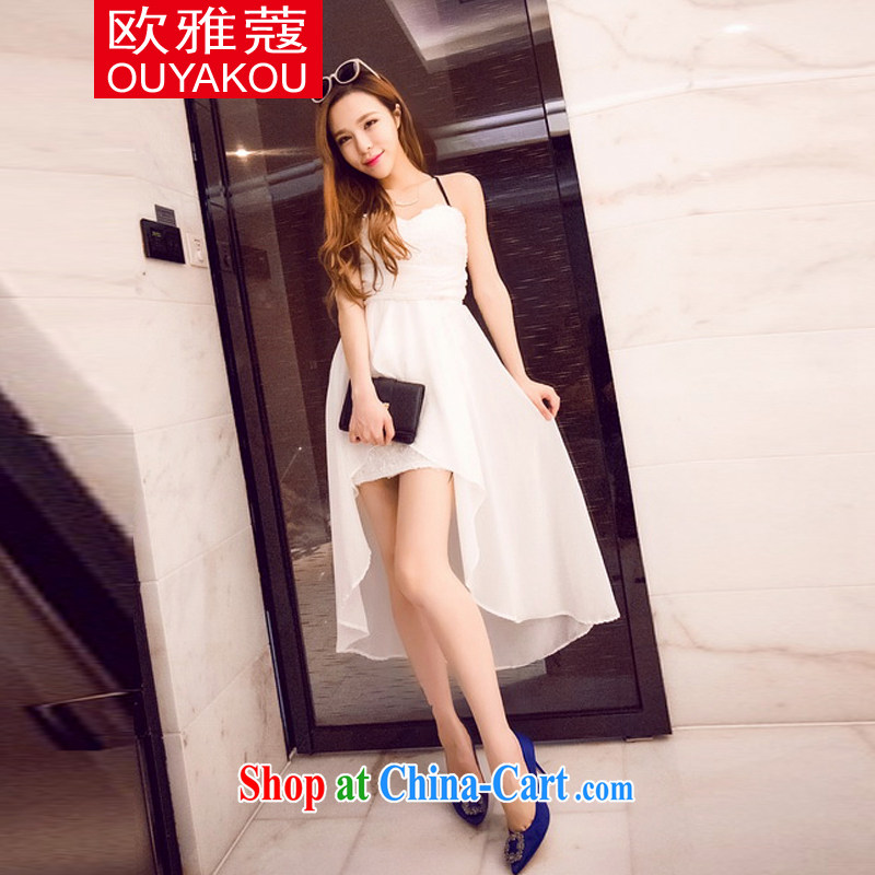 The Kou, 2015 new sexy and stylish roses snow woven wrapped chest dress dress white are code