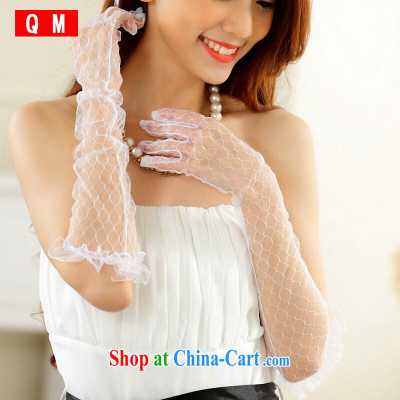 Shallow end _QM_ wedding dresses white gloves sunscreen Web yarn gloves dress with long gloves JK 1002 - 1 white are code
