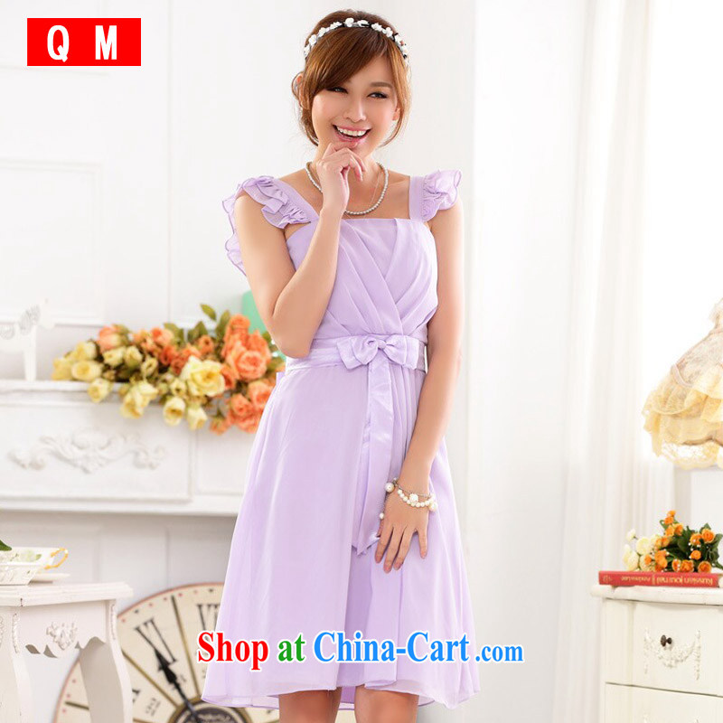 Shallow end (QM) short bridesmaid clothing light shoulder sister banquet purple evening dress dresses thick MM the dress code 9827 JK C - 1 purple XXXL